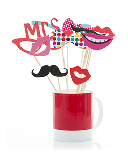 photo booth props on a stick with mustache