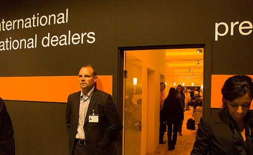 Sony made the odd decision to flood the press and dealer area with orange light