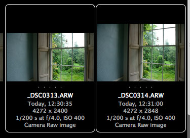 A windowed 16:9 raw file next to a full frame raw file, from the Alpha 700