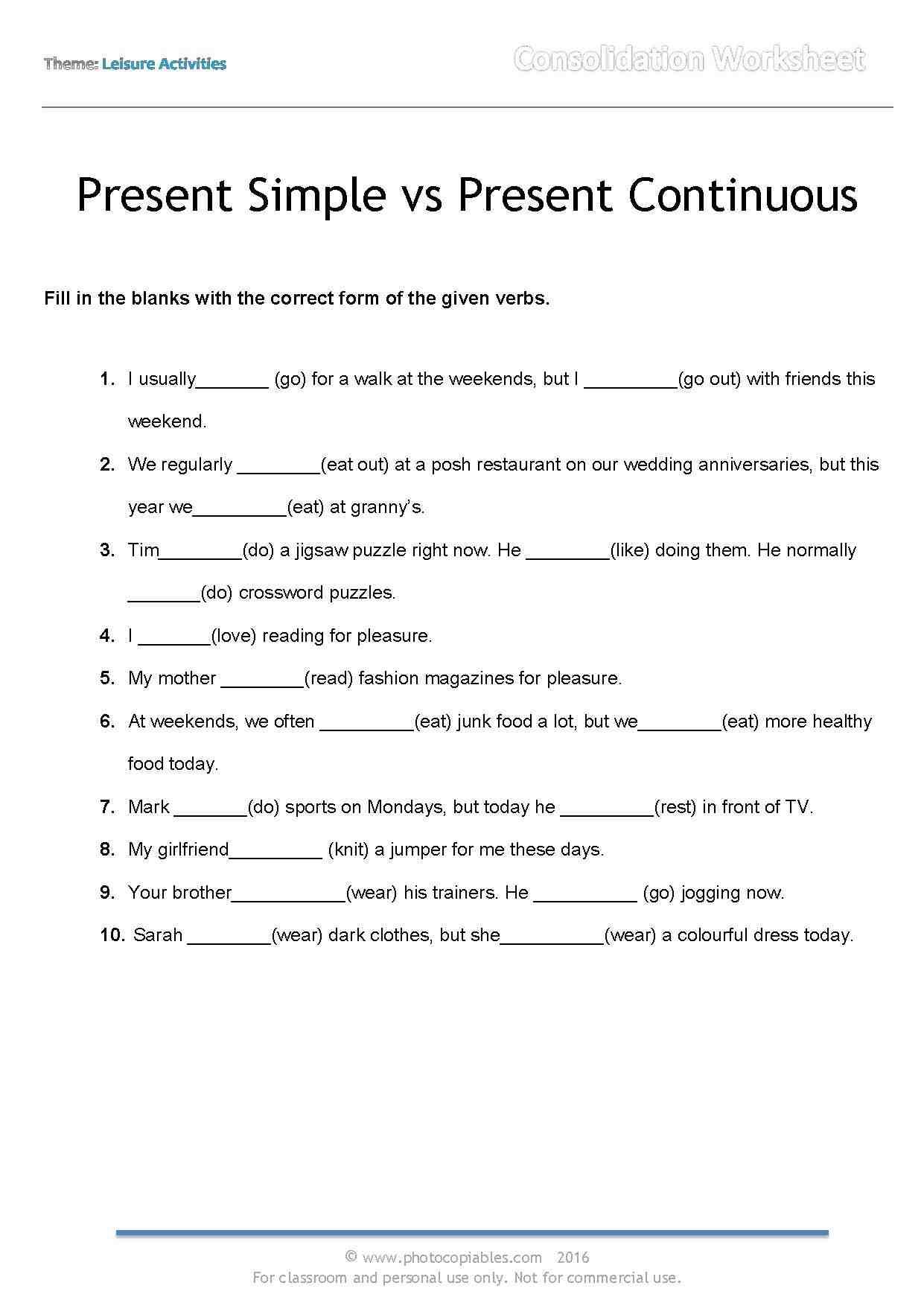 Online Exercises Present Simple Vs Present Continuous