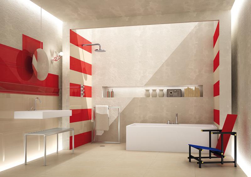 Faience Salle De Bain Rouge Et Blanc