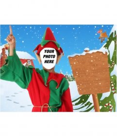 Photomontage And Elf Poster To Send As Christmas Card