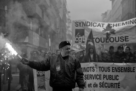 Train Drivers protest in Toulouse