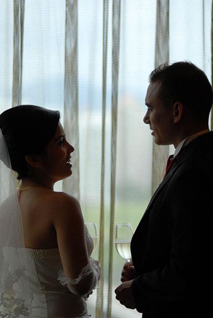 bride and groom talking photo Ontario