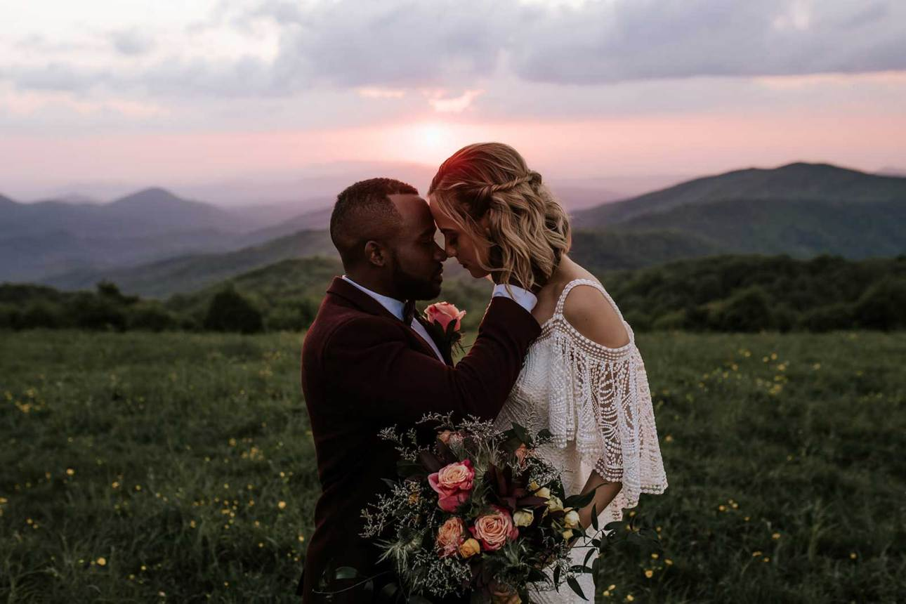 Biracial couple elopement image