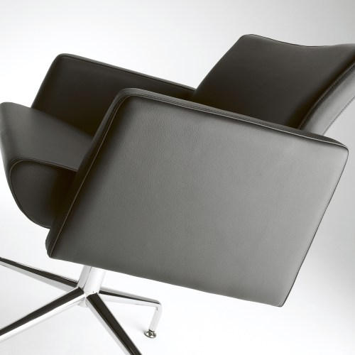 Black leather square chair with chrome stand - Furniture photography