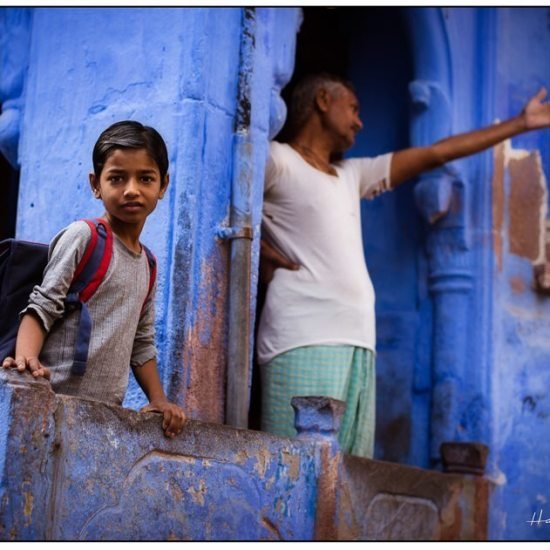 a school boy prepares for school at his home in jodphur