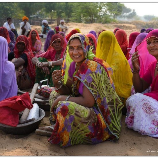 sarees at dawn in a village in rajasthan