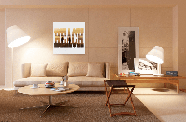 Beach - Text - Photo Canvas - Square - Two Surfers at Byron Bay, displayed on a wall in a modern home with sofas and table