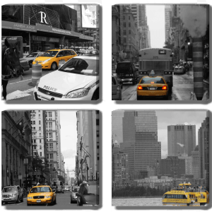 NewYork NYC - 4 Photo canvas set - Dave Mutton Photograph. Monochroime images with single colour the iconic NYC yellow taxi