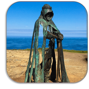 Photo Coaster - Gallos - Bronze Statue - Tintagel Castle Cornwall - by Dave Mutton Photography