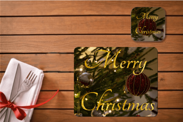 Christmas Gift Set - Red Bauble - Placemat & Coaster Set