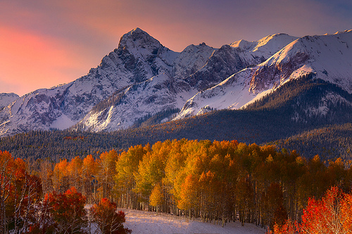 Colorado Fall Colors Mixed With Snow