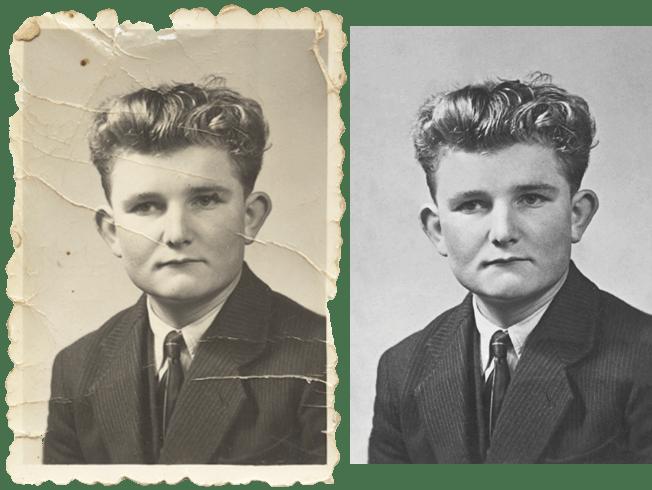 Vidéo d'une restauration d'une vieille photo d'identité