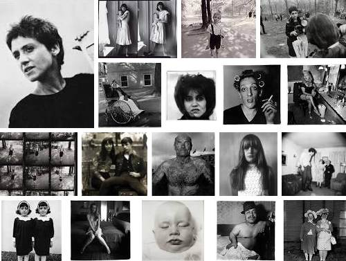 Photomontage of Diane Arbus and some of her work.
