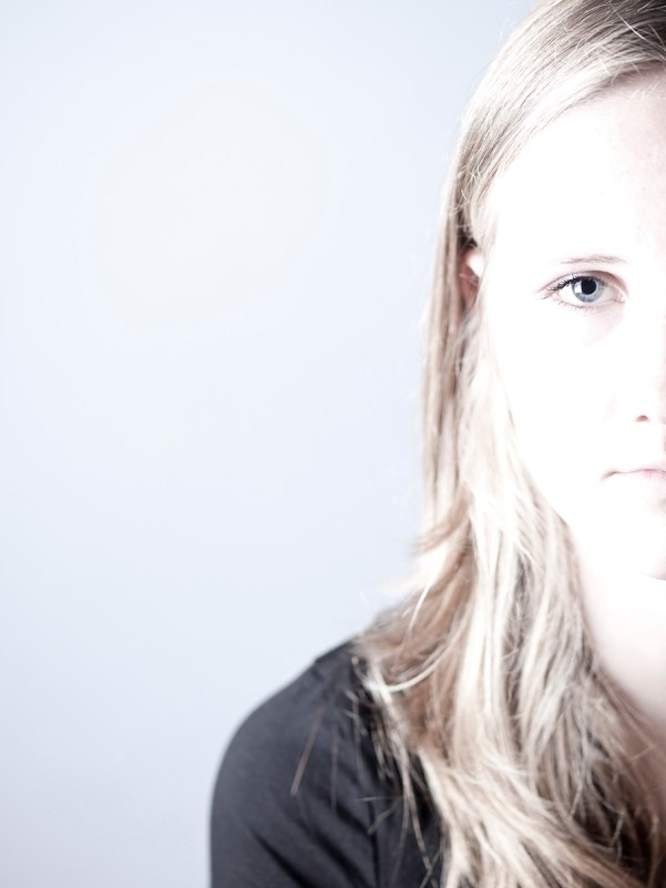 High key image of a teenage girl