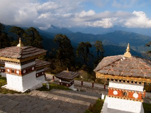 Beautiful view over the himalayan mountains from the 108 chortens on the Dochula Pass between Punakha and Thimpu in Bhutan