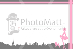 Thème photobooth borne photo selfie photomatt Paris Parisienne gris rose