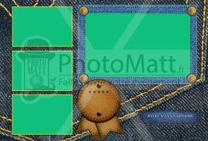 Thème photobooth borne photo selfie photomatt jeans denim tissu bleu cuir couture annivesaire
