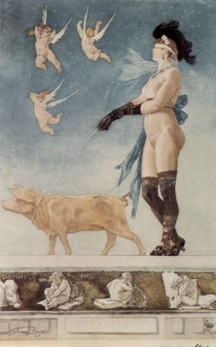 Dame au Cochon by Félicien Rops