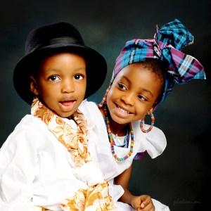 children in traditional attire