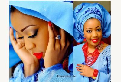 yoruba bride in blue traditional attire, photonimi