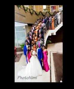 bride, groom, bridal train, groomsmen, photonimi