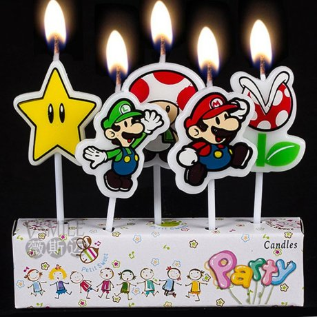 5 Super Mario Candles showing different Nintendo characters with candles alight