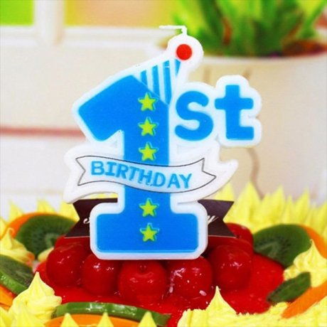 1st Birthday Candle Blue