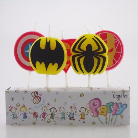 Superhero party candles - 5 toothpick candles featuring logos for Captain America, Superman, Iron Man, Batman and Spiderman