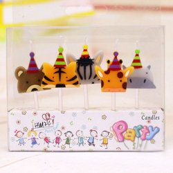 A packet of five zoo animal birthday candles