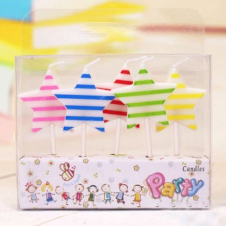5 Star Candles with colouful stripes