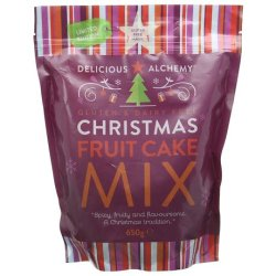 A packet of gluten free and dairy free fruit cake mix