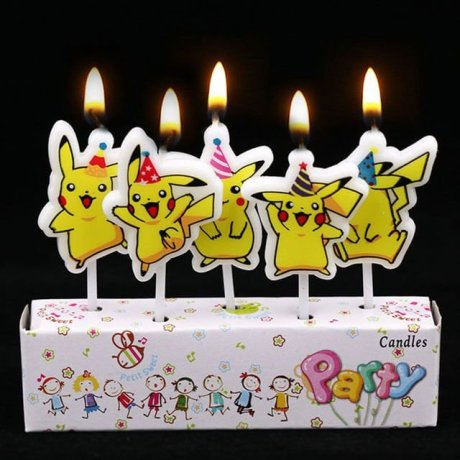 5 birthday candles showing the Pokemon Pikachu