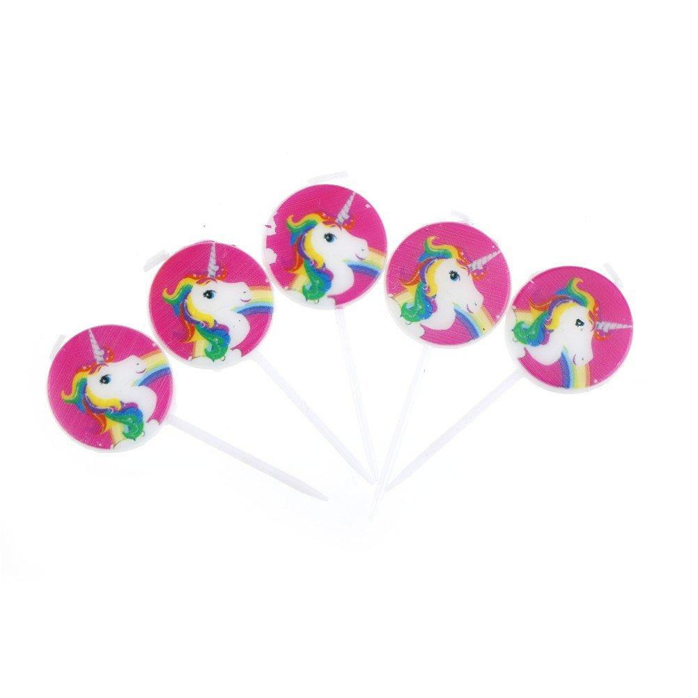 photo of 5 unicorn party cake candles