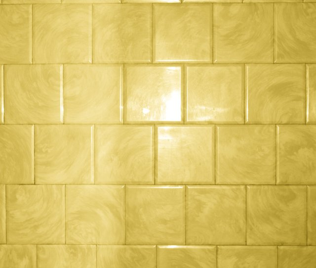 Yellow Bathroom Tile With Swirl Pattern Texture