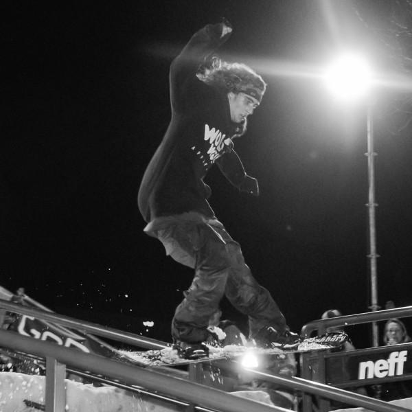 Joshua Pires riding the rail