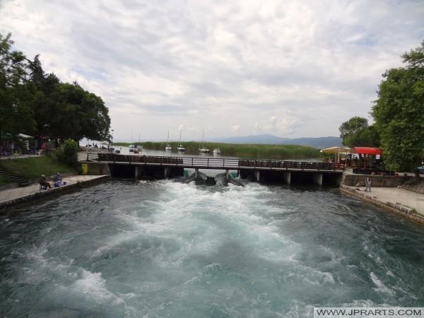 Црн Дрим истекува од Охридското Езеро (Струга, Македонија)