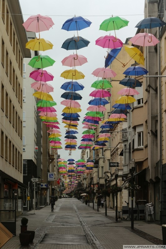 Umbrellas hanging above street in Luxembourg
