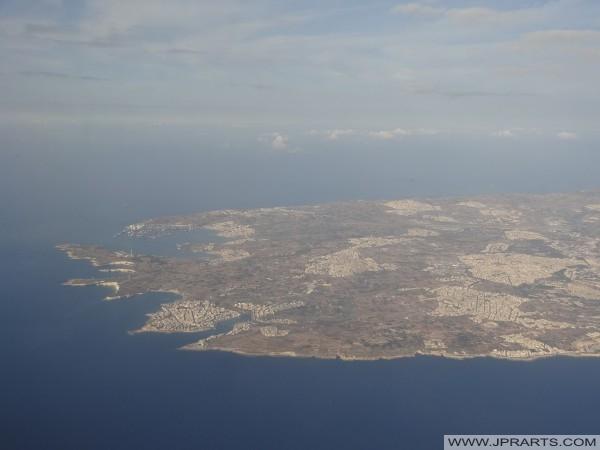 Vue aérienne Marsascala, Marsaxlokk et Malte Freeport (Malte)