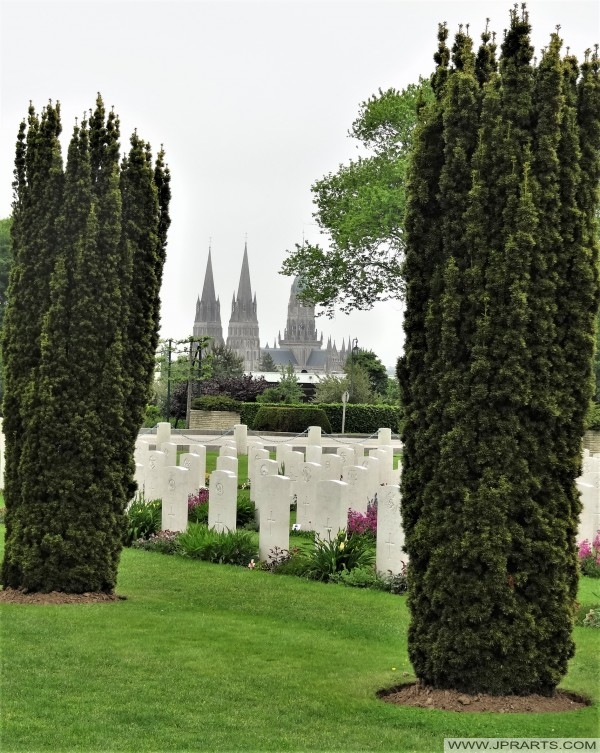 View of the Bayeux Cathedral from the British War Cemetery (Normandy, France)