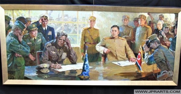 Signing of the Ceasefire Treaty that ended the Korean War - North Korean Painting