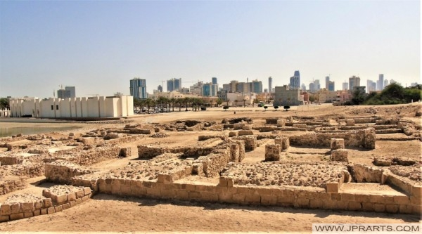 View of the Fort Museum, Archaeological Excavations and Manama City from the Bahrain Fort
