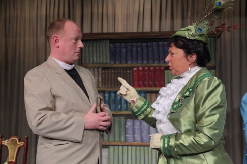 John Irvine as Canon Chasuble and Jenny Gammon as Lady Bracknell in SLT's January 2012 production of The Importance of Being Earnest by Oscar Wilde