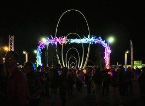 One of the entrances to the Night noodle Markets at Elizabeth Quays. Including a kissing couple