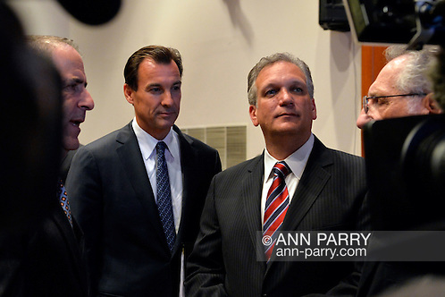 Old Westbury, New York, U.S. 8th October 2013. L-R, TOM SUOZZI and ED MANGANO before start of debate hosted by Nassau County Village Officials Assoc.  (© 2013 Ann Parry/ann-parry.com)
