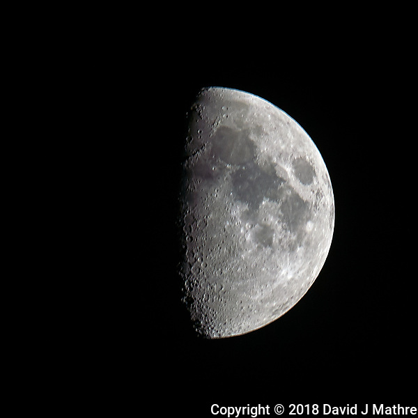 Waxing Gibbous Moon. Image taken with a Nikon D4 camera and 600 mm f/4 VRII telephoto lens (ISO 100, 600 mm, f/11, 1/100 sec). (DAVID J MATHRE)