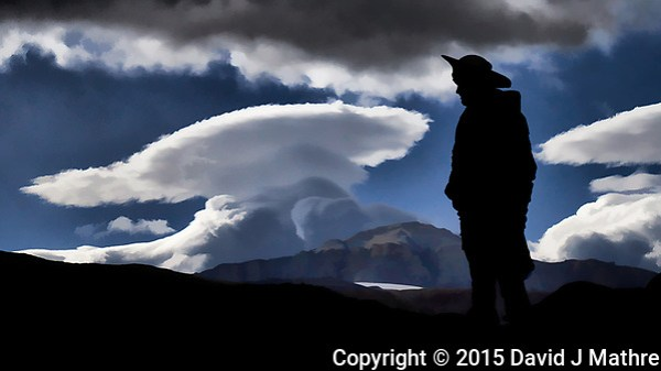 Silhouette and lenticular clouds in Patagonia. Image taken with a Fuji X-T1 camera and 55-200 mm lens (ISO 200, 55 mm, f/16, 1/500 sec). (David J Mathre)