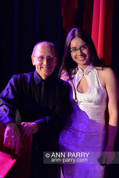Bellmore, New York, USA. July 16, 2015. HENRY STAMPFEL, owner of Bellmore Movies, and NICOLE GONZALEZ, pose at the 18th Annual LIIFE Awards Ceremony. The Long Island International Film Festival was held at historic Bellmore Movies. (Ann Parry/Ann Parry, ann-parry.com)