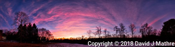 Dawn Morning Clouds. Winter Backyard Nature in New Jersey. Composite of 10 images taken with a Fuji X-T1 camera and 16 mm f/1.4 lens (ISO 200, 16 mm, f/2.8, 1/60 sec). Raw images processed with Capture One Pro and the composite generated with AutoPano Giga Pro. (David J Mathre)